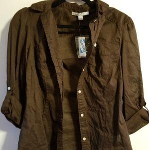 Brown button-up shirt